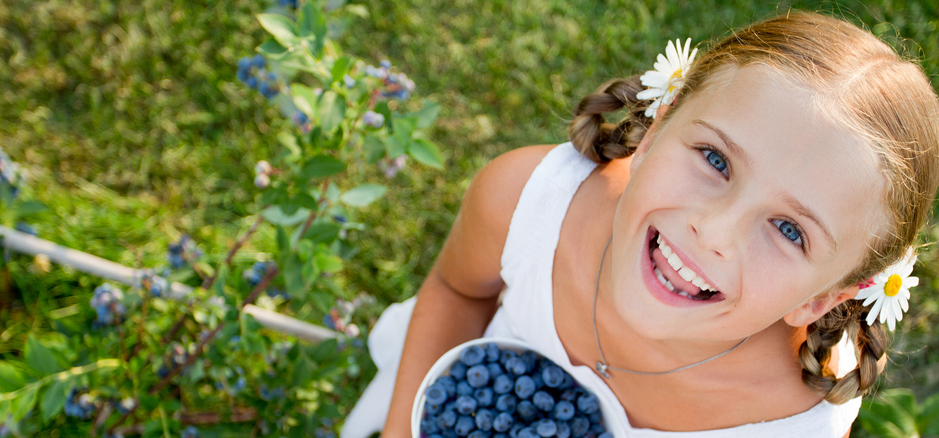 Blueberries, summer, child - Lovely girl with fresh blueberries